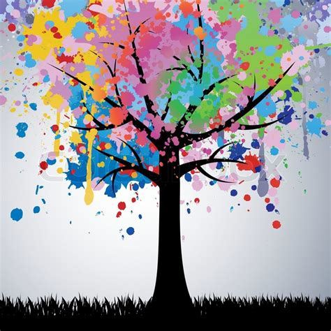colorful tree abstract colorful tree vector background stock vector