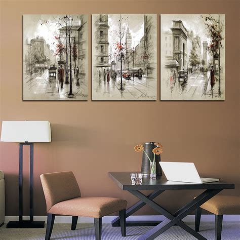 home art decor home decor canvas painting abstract city street landscape