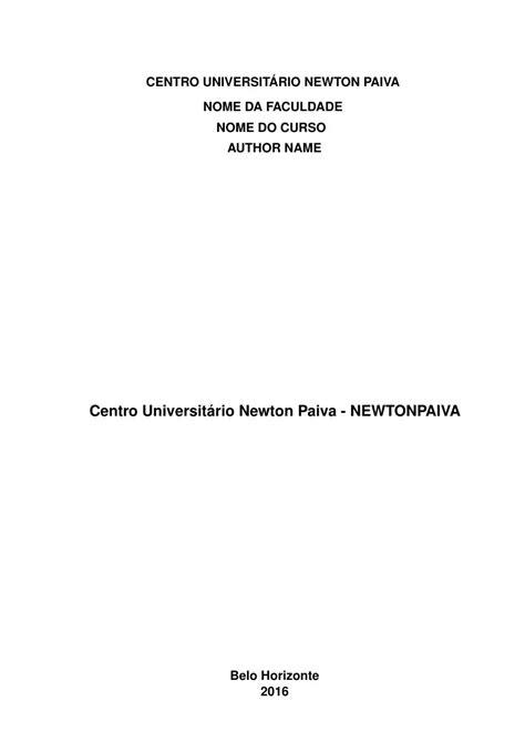 Modelo TCC Centro Universitário Newton Paiva - NEWTONPAIVA
