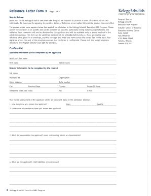 Schulich Mba Application by Letter Of Reference Forms And Templates Fillable