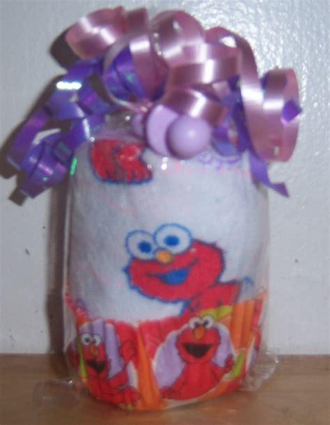 Elmo Baby Shower by Sesame Washcloth Cupcake Baby Shower Favor Elmo