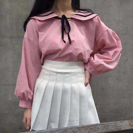 Bow Sailor Collar Sleeve Top sailor collar bow volume sleeve itgirl shop