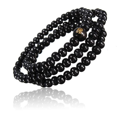 black bead buddhist buddha multi chain black bead bracelet necklace