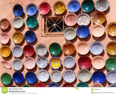 colorful plates traditional moroccan pottery on the market stock image