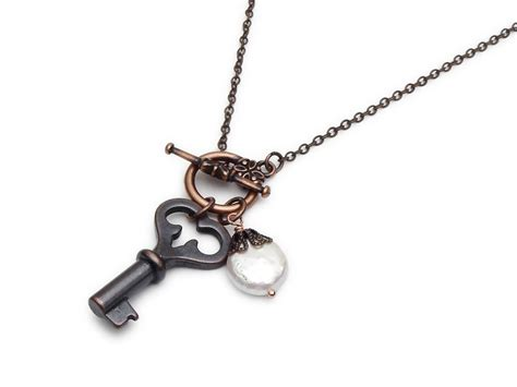 antiqued copper skeleton key charm necklace genuine pearl