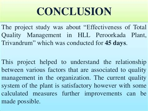 Total Quality Management Mba Assignment by Hll Project Presentation