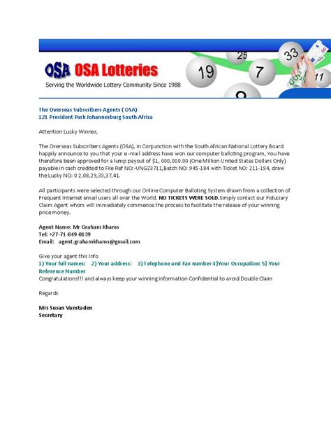 America Mega Million Lottery Sweepstakes - osa lotteries scam watch alerts