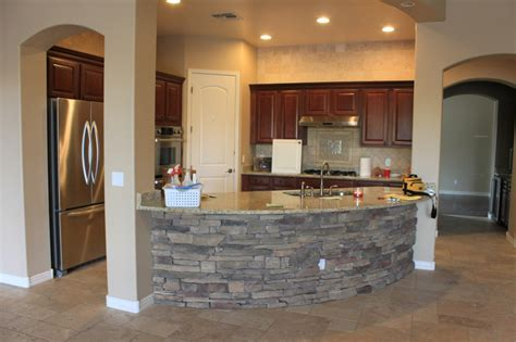 Stone Kitchen Island Like The Small Kitchen Concept And Can Have Island With