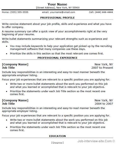 free sle of professional resume template professional resume template word learnhowtoloseweight net