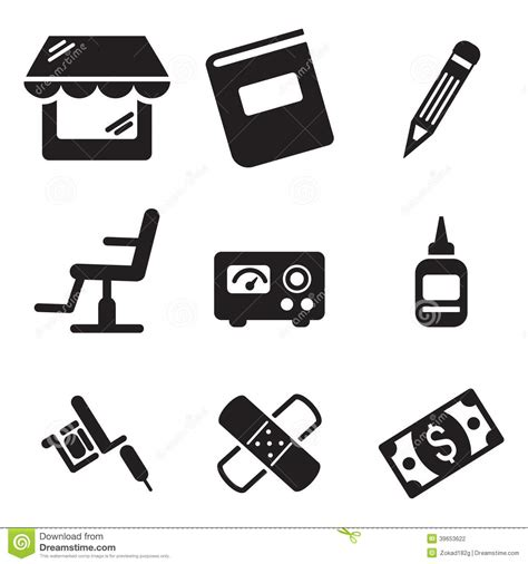 tattoo icons icons stock vector image 39653622