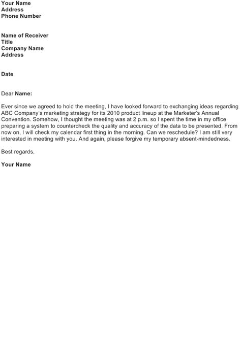 Apology Letter Sle For Missing A Meeting Apologize For Missing A Meeting