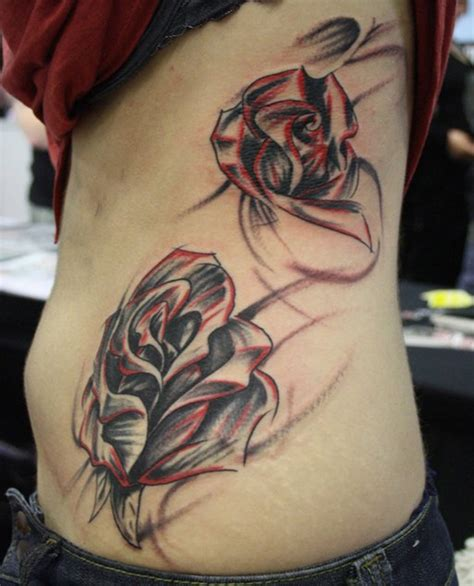 tattoo pictures side body clock rose tattoo design images
