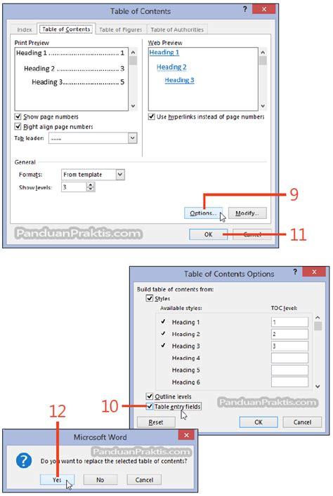 membuat daftar isi table of contents di word 2007 cara membuat daftar isi table of contents di word 2013