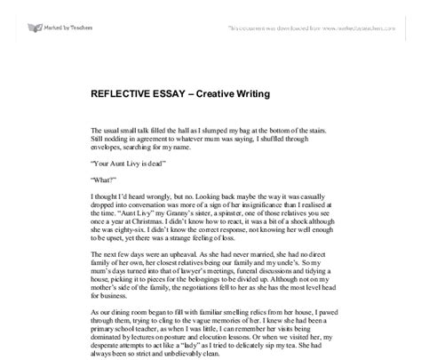 Critical Reflection Essay Exle by Reflective Essay Gcse Marked By Teachers