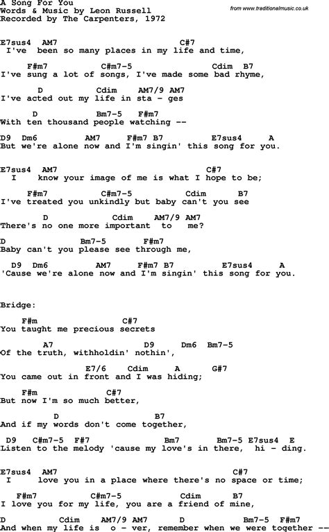 song for song lyrics with guitar chords for a song for you the