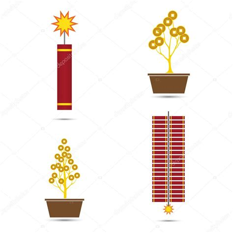 new year st vector new year vector crackers and coins tree pot