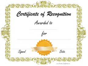 Certificate Of Recognition Templates by Free Certificate Of Recognition Template Customize