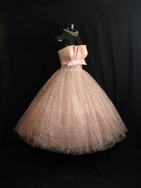 Shelf Bust Dress by Vintage 1950 S 50s Strapless Pink Shelf Bust Taffeta Tulle