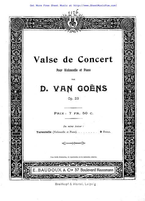 Free sheet music for Valse de concert, Op.23 (Goens