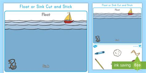 floating and sinking boat experiment float or sink cut and stick worksheet activity sheet