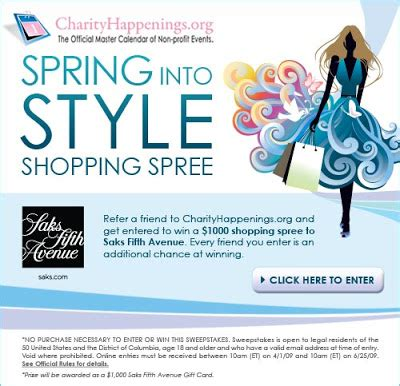 Win A 3000 Saks Shopping Spree win a 1000 shopping spree at saks fifth avenue chichitest