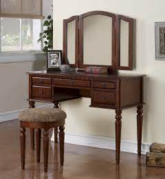 Vanity Table Furniture 3pc Bedroom Makeup Vanity Set With Table Mirror Stool In Cherry Finish Pd4071 Ebay