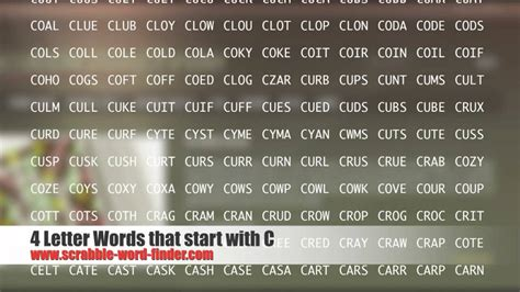 4 Letter Words Beginning With C 4 letter words that start with c