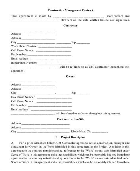 sample construction contract  examples   word google docs apple pages