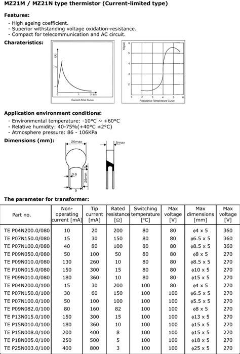 ptc thermistor specification p06n100 0 100 thermistors ptc micros