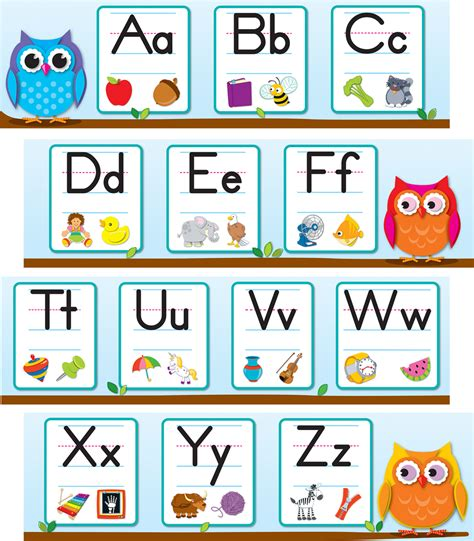 printable owl calendar numbers colorful owls alphabet mini bulletin board set grade pk 2