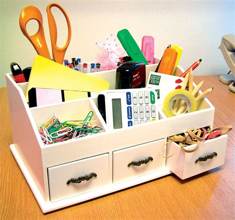 wooden desk tidy cosmetics organiser caddy pen holder tidy