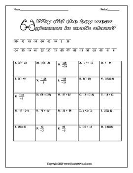 Integer Operations Worksheet by Pictures Operations With Integers Worksheet Dropwin