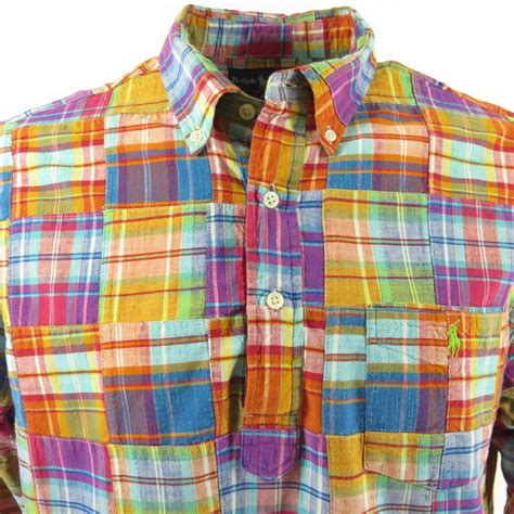 Madras Patchwork Shirt - ralph summer patchwork shirt mens l madras by the