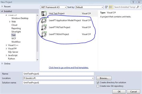 visual studio project template setting up leanft project in visual studio free software