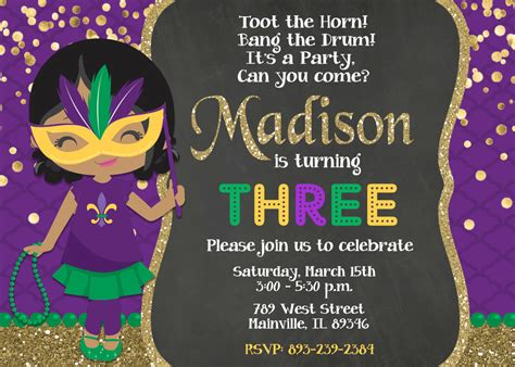 birthday invitation templates mardi gras birthday
