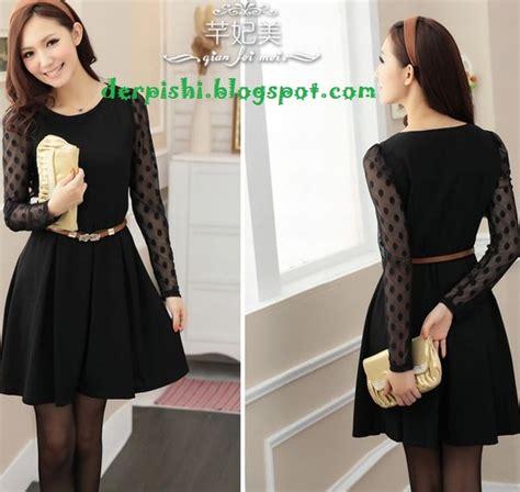 dress korea baju korean dress korea warna hitam cocok semua acara