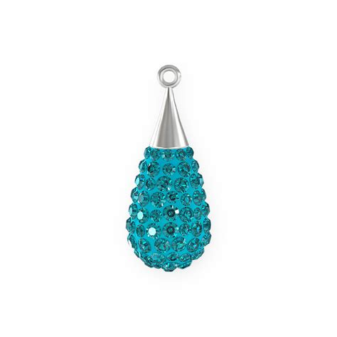 swarovski drop swarovski 26mm aquamarine rhodium plated pav 233 drop pendant