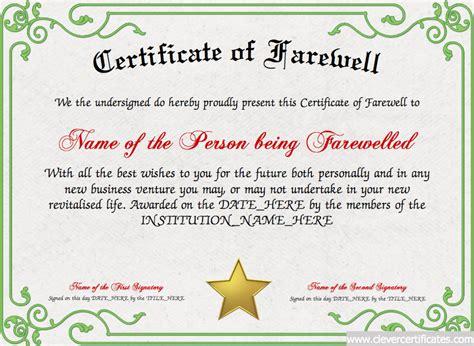 farewell certificate template farewell certificate template