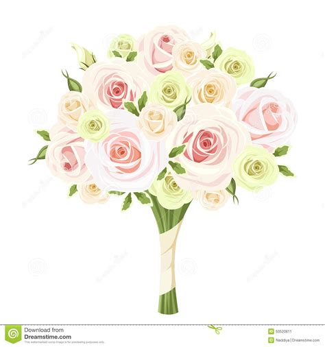 Wedding Bouquet Illustration by Wedding Bouquet Of Pink White And Green Roses Vector