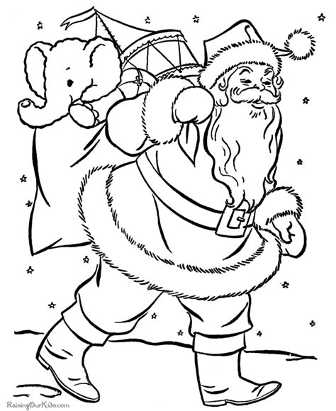 santa claus coloring pages bag of toys