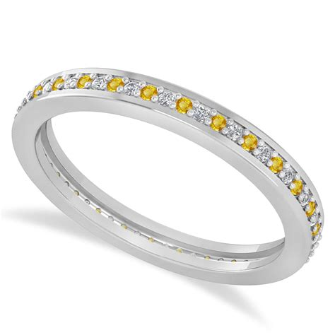 Yellow Sapphire 5 85 Ct Memo yellow sapphire eternity wedding band 14k white