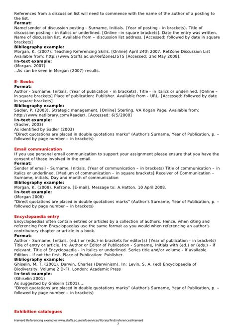 harvard style referencing template harvard referencing exles