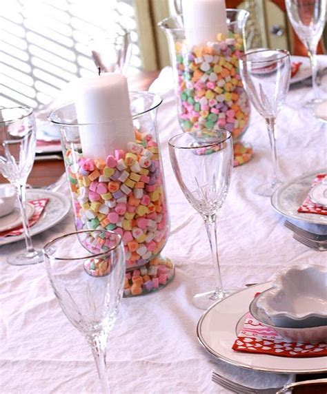 valentines day tablescapes tablescape conversation hearts pink candle decorations and