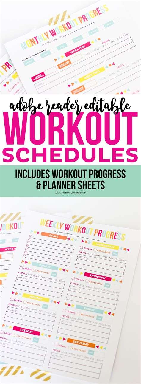 3 Free Printables To Help You Smash Your 2017 Goals Editable Printable Workout Schedule Printable Crush