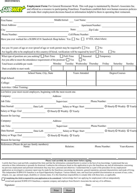 online printable job application for subway subway job application jvwithmenow com