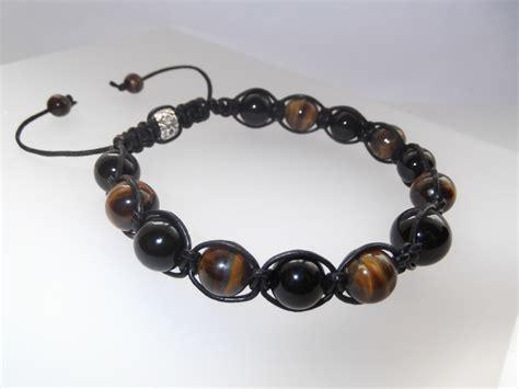 Onyx Real Bracelet real leather black onyx and tiger eye gemstone mens