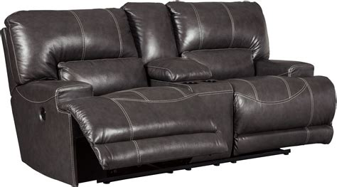 dual power reclining loveseat with console mccaskill gray double power reclining console loveseat