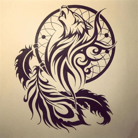 tribal wolf dream catcher tattoo drawing