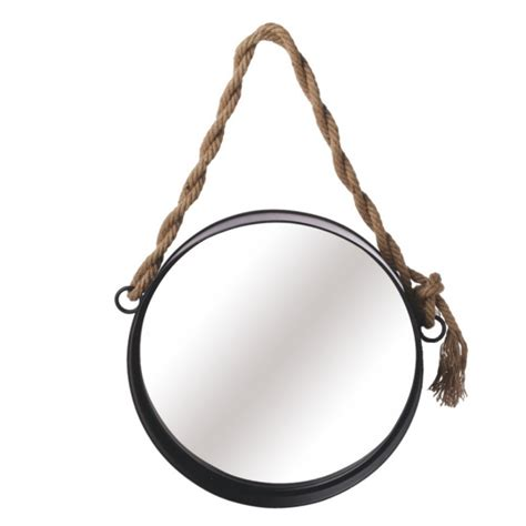 Rope Hanger - medium wall mirror with twisted rope hanger