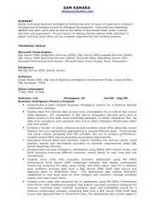 Business Intelligence Developer Sle Resume by Business Intelligence Resume Sam Kamara
